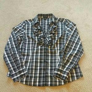 Ruffle button down shirt size L